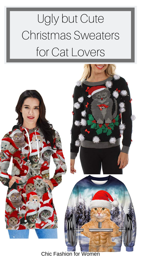 52903efd2944b Ugly but Cute Winter Sweaters Women who love cats. Ti's the season to be  jolly