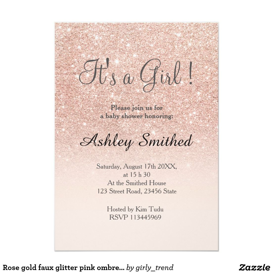 Rose gold faux glitter pink ombre girl baby shower card | Baby ...