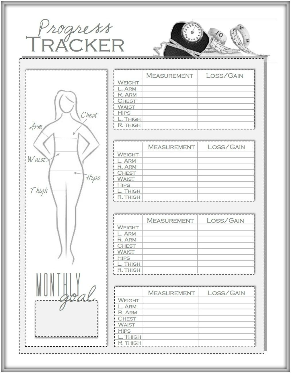 weight loss and measurement progress tracker i work oooooout