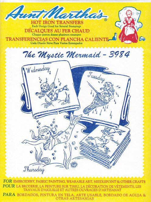 The Mystic Mermaid #3984 Aunt Martha\'s Hot Iron Embroidery Transfer ...
