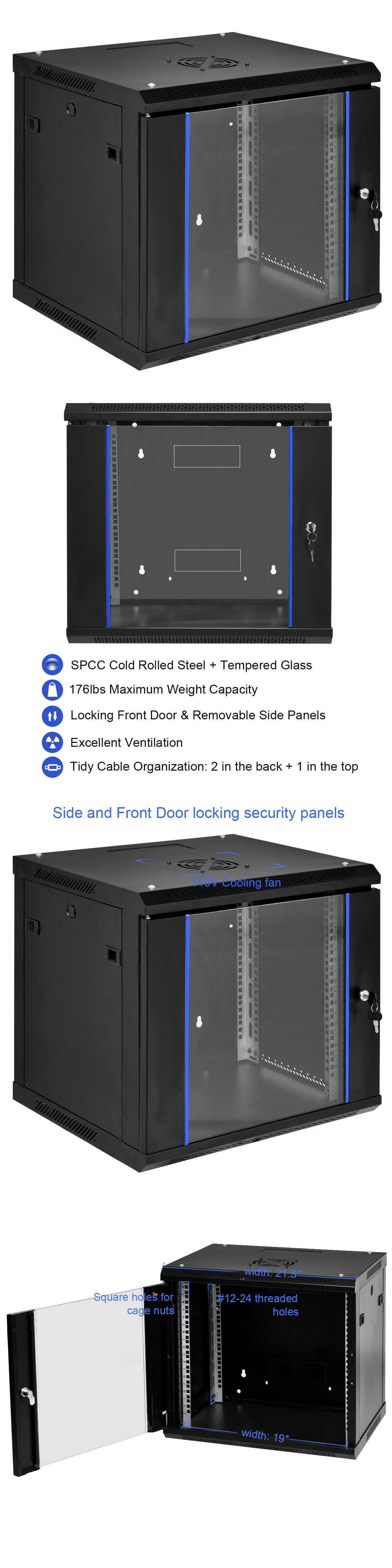 6u Wallmount Data Cabinet Enclosure 19 Server Network Rack W Locking Glass Door Ebay Network Rack Glass Door Patch Panels