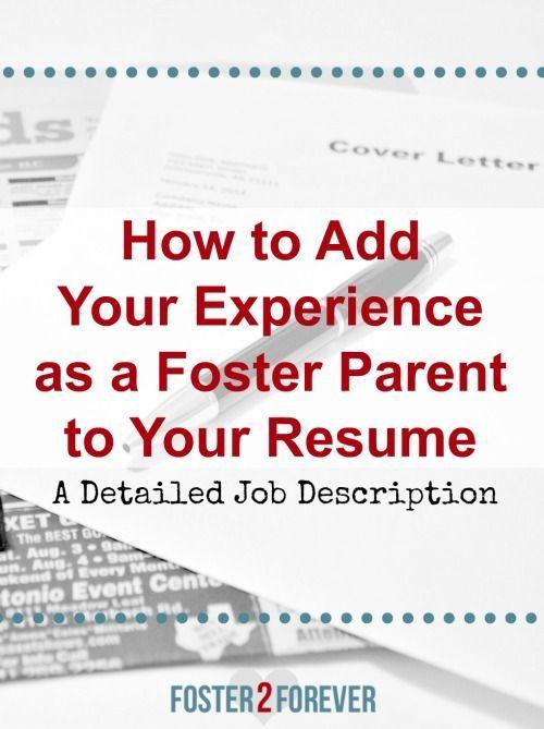 The Job Description of a Foster Parent Job description, Child - social worker job description