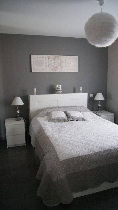 Chambre adulte Blanc Gris Romantique - Mur situé en face de la porte ...