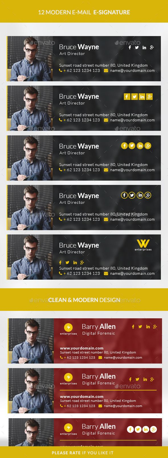 Modern E-signature | Email signatures, Modern and Newsletter templates