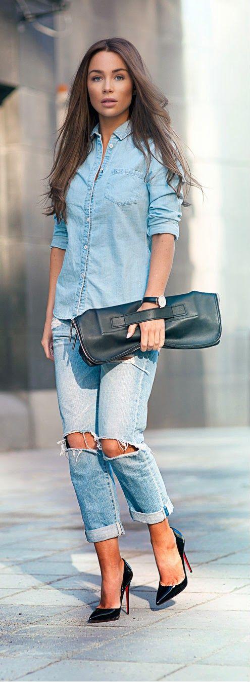 DENIM ON DENIM - Gorgeous Denim Skinny Jeans and Denim Shirt or Long Hairstyles and Christian Louboutin / Johanna Olsson
