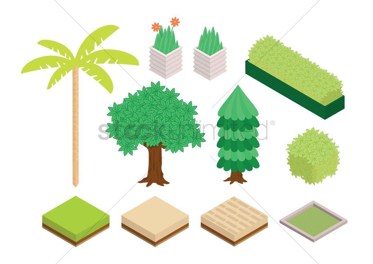 Garden plants collection stock vector