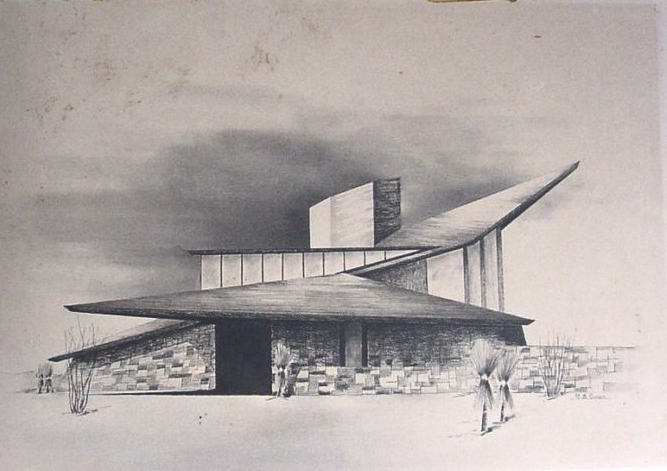 mid century modern home sketch by architect richard b swain 1965 - Cool Architecture Drawing