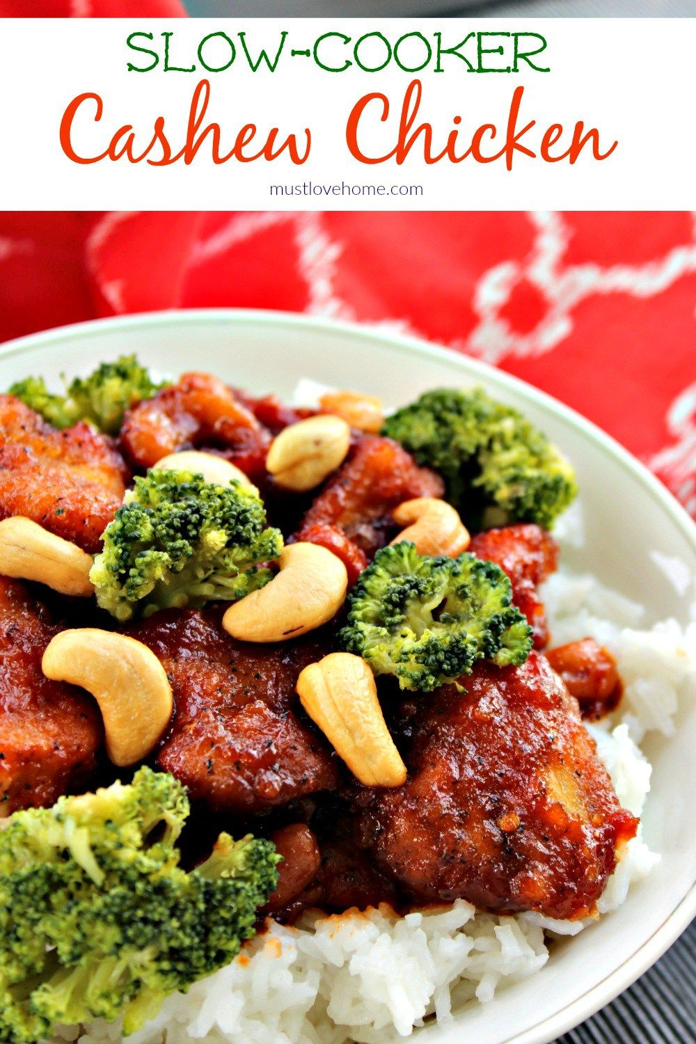 Put down that take-out menu! Slow Cooker Cashew Chicken - a zesty blend of chicken, cashews and a spicy sauce has your favorite fast food beat...hands down! Served with rice and broccoli it is a complete meal!