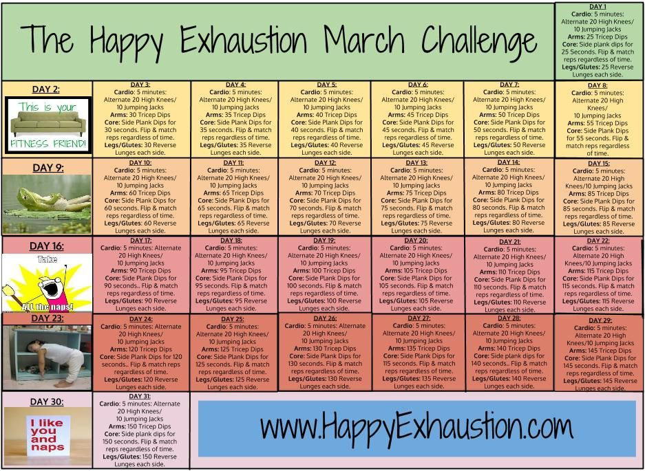 March fitness challenge all body weight exercises you can