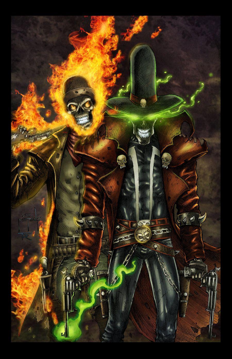 Cowboy Ghostrider & Spawn - line art: Jason Metcalf, color ...