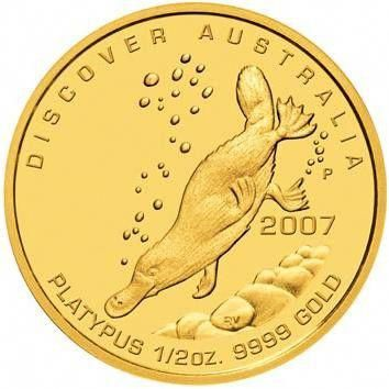 discover australia 2007 platypus 1/2 oz gold coin