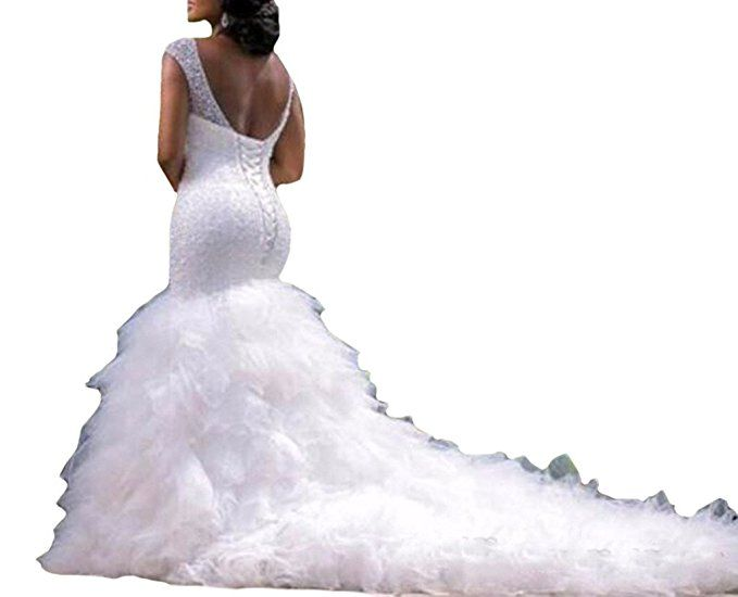 Andybridal Mermaid Sweetheart Cap Sleeve Cathedral Train Plus Size ...