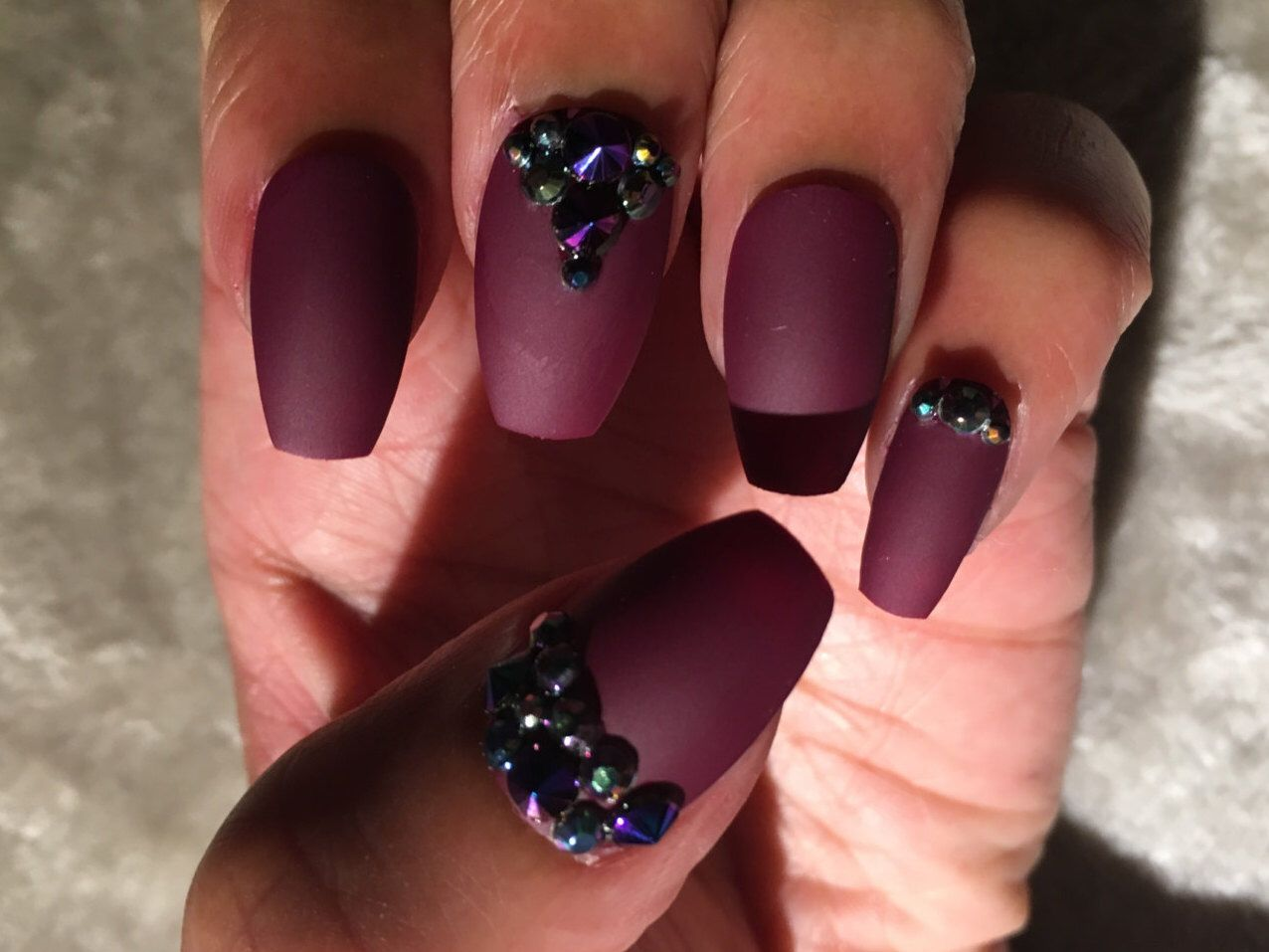 Burgundy Wine Maroon Rhinestone Nails | A personal favorite from my ...