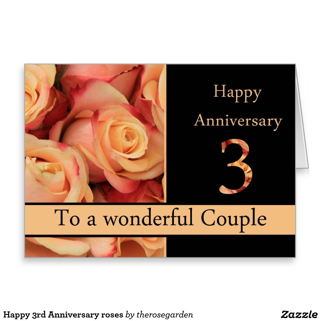 Happy 3rd Anniversary roses Card