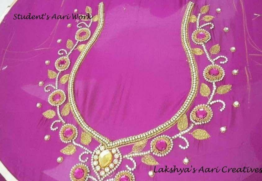 Lakshya S Aari Creatives First Aari Work Of Our Student Thivyah Karunageran From Malaysia Who Successfully Complet Aari Embroidery Aari Work Blouse Work Blouse