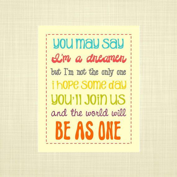 IMAGINE lyrics-John Lennon- Kids wall art, Nursery art, Playroom art ...