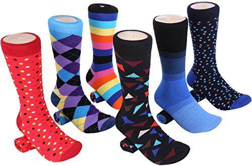 Image result for Marino Mens Dress Socks - Fun Colorful Socks for Men - Cotton Funky Socks - 6 Pack