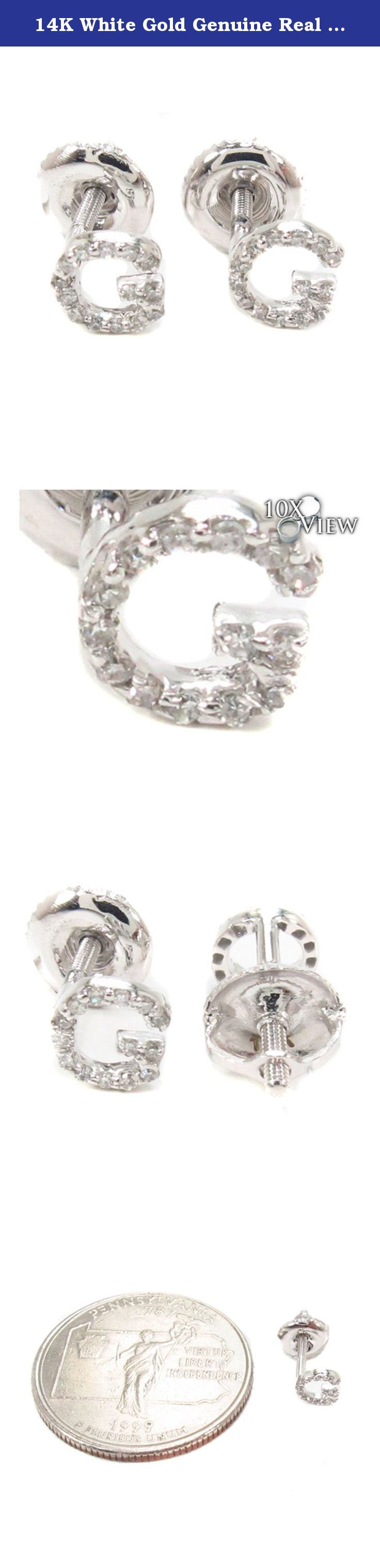 14k White Gold Genuine Real Round Cut Diamond Initial Letter Stud Earrings  With Secure Screw Backs