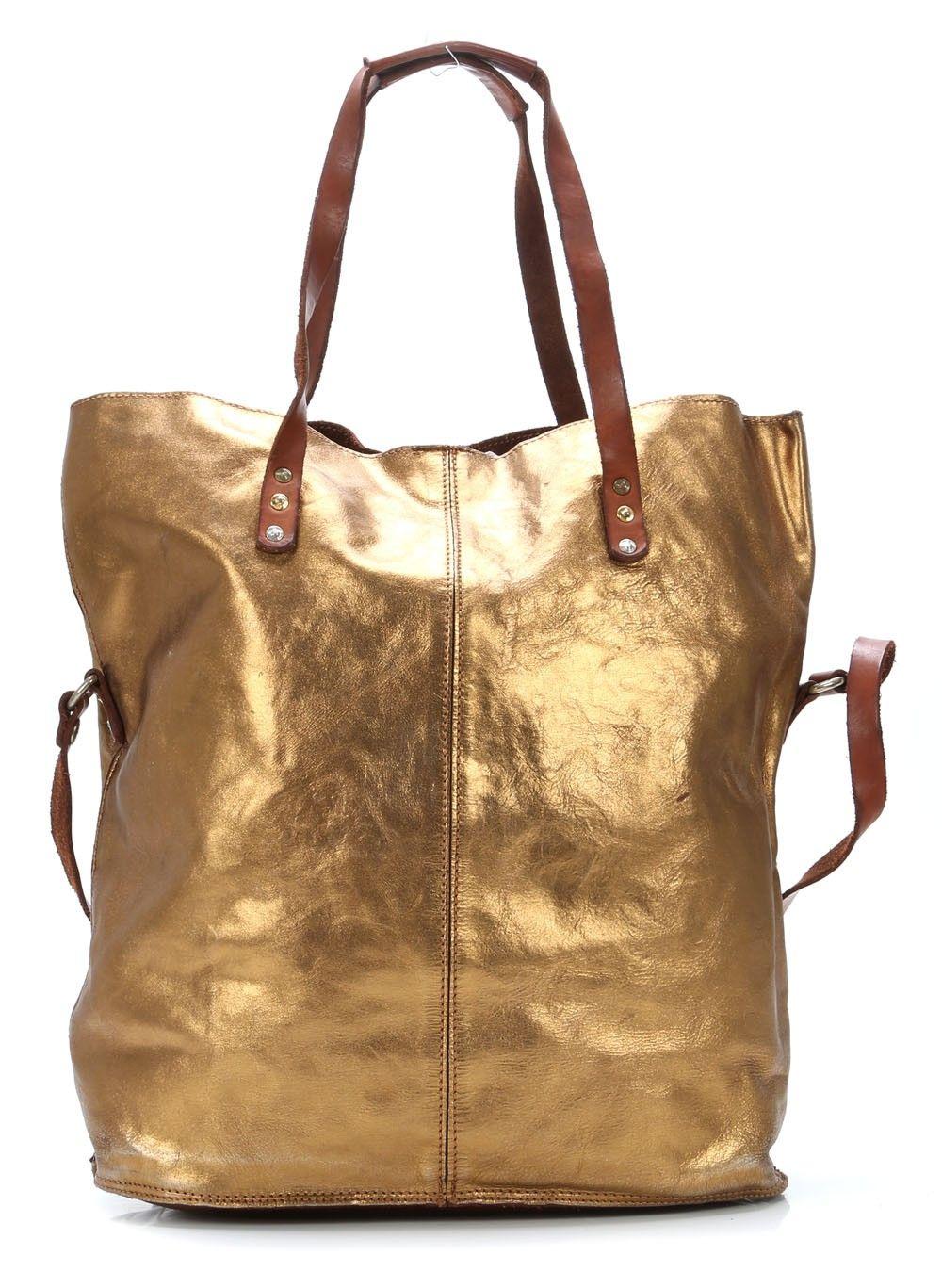 Lavata Tote Leather Gold 45 Cm Campomaggi Taschen Beutel Coole Taschen