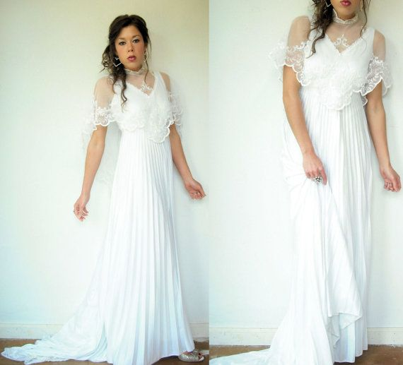 70's Vintage White Bohemian Accordion Pleated A Line Wedding Dress ...