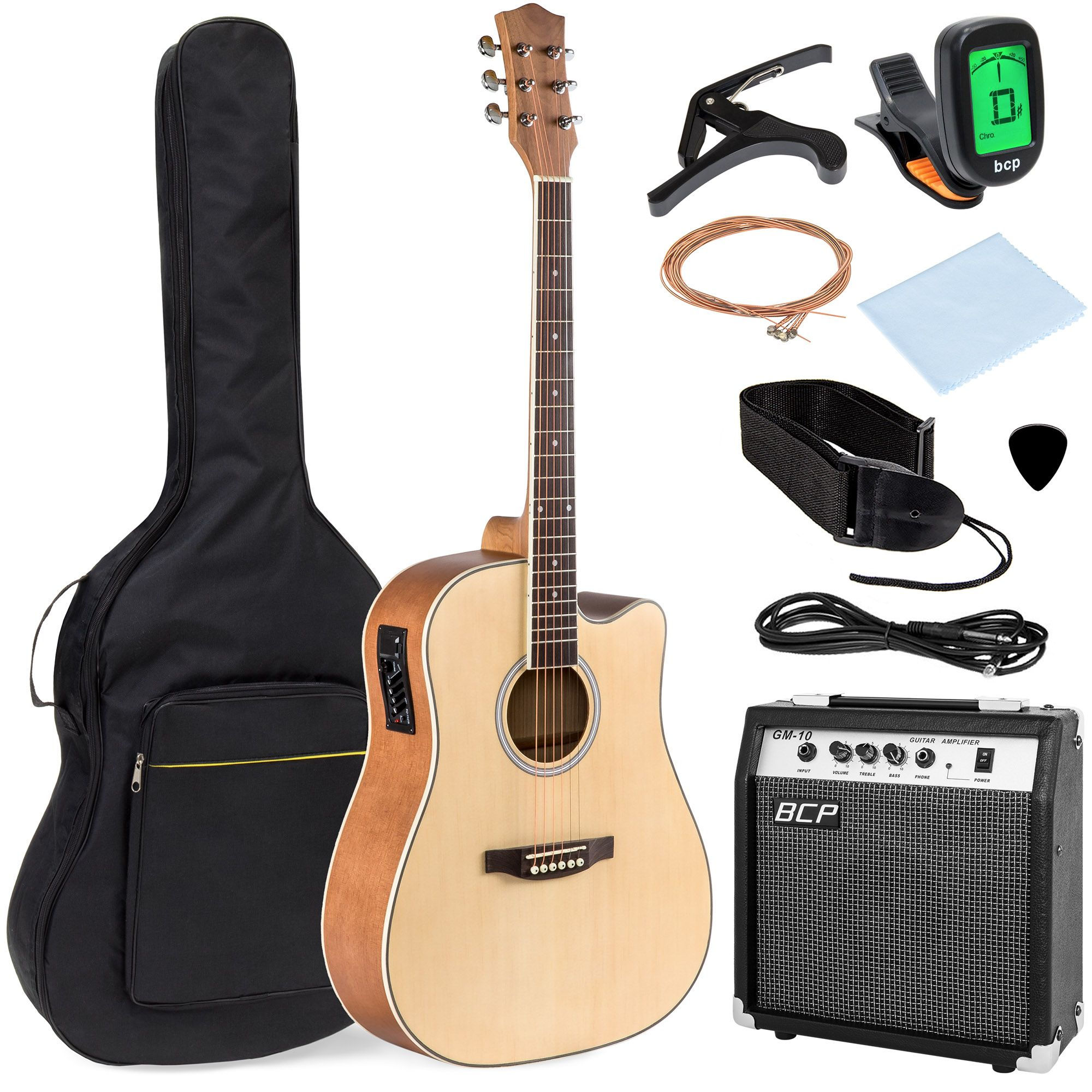 Best Choice Products Beginner Acoustic Electric Guitar Starter Set 41in W All Wood Cutaway Design Case Natural Walmart Com In 2021 Acoustic Electric Guitar Acoustic Electric Guitar