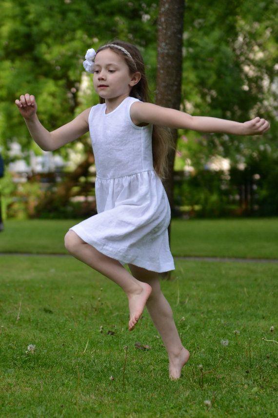 176003c00f9ca Baptism Wedding party flower girl Baby girl white by MarumaKids. Flower  girls dress Snow White Linen ...