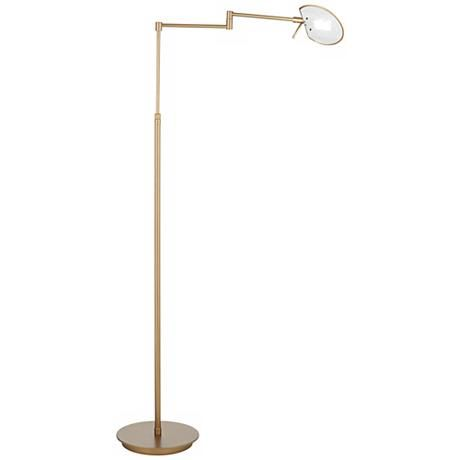 Holtkoetter Mix LED Antique Brass Swing-Arm Floor Lamp - Style ...