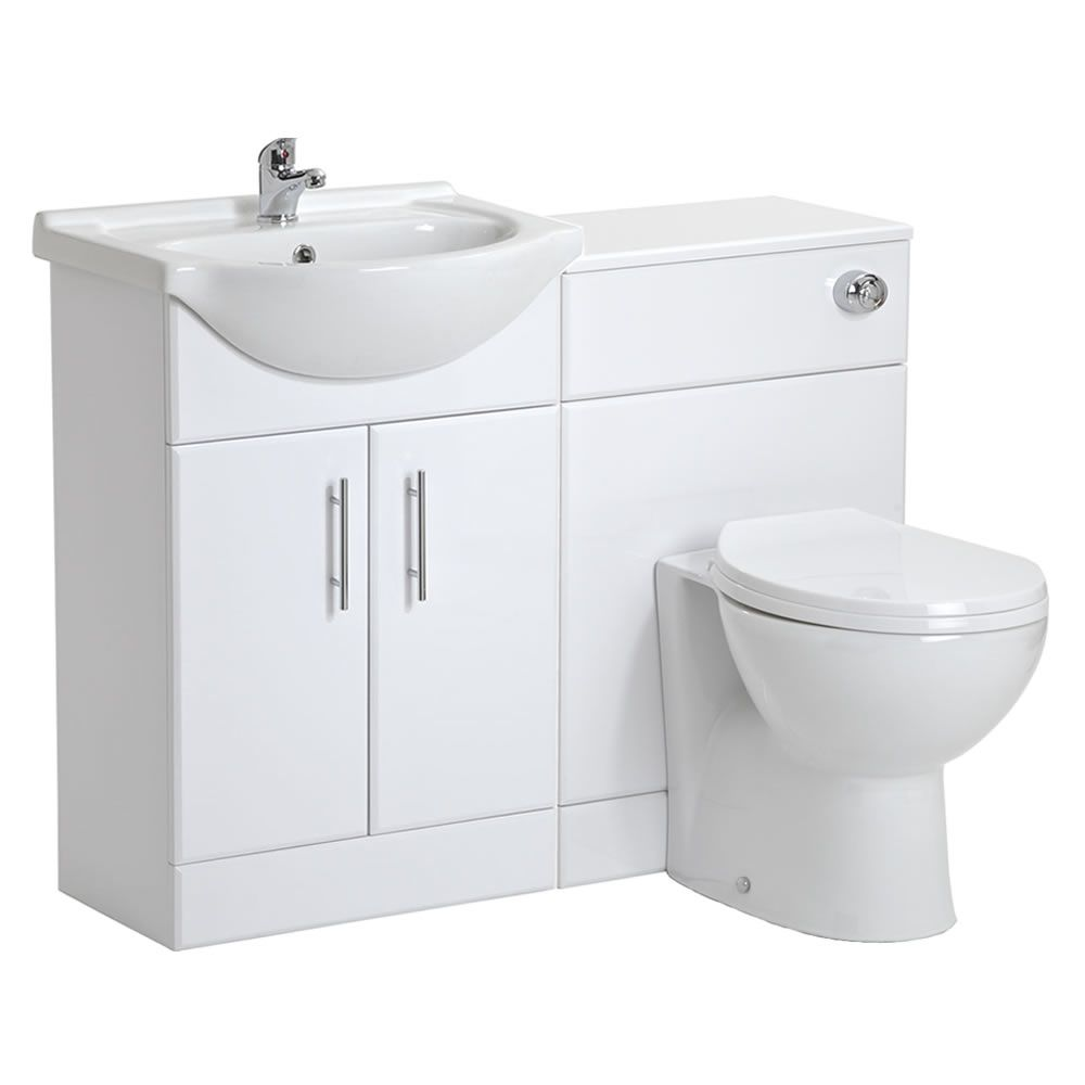 550mm White Gloss Furniture Sink And BTW Toilet Unit Image 1 .