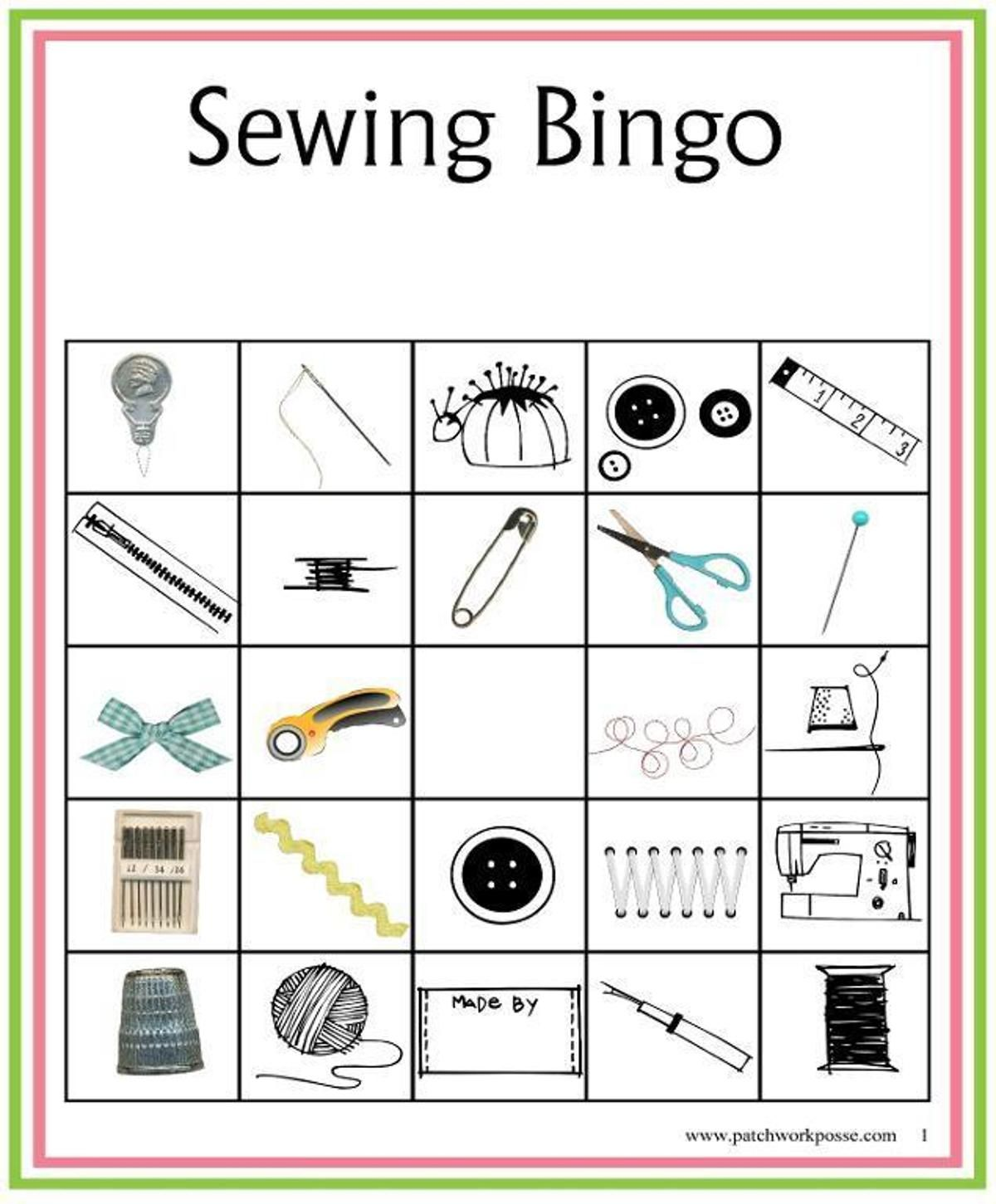 Sewing Bingo Board Game Printable
