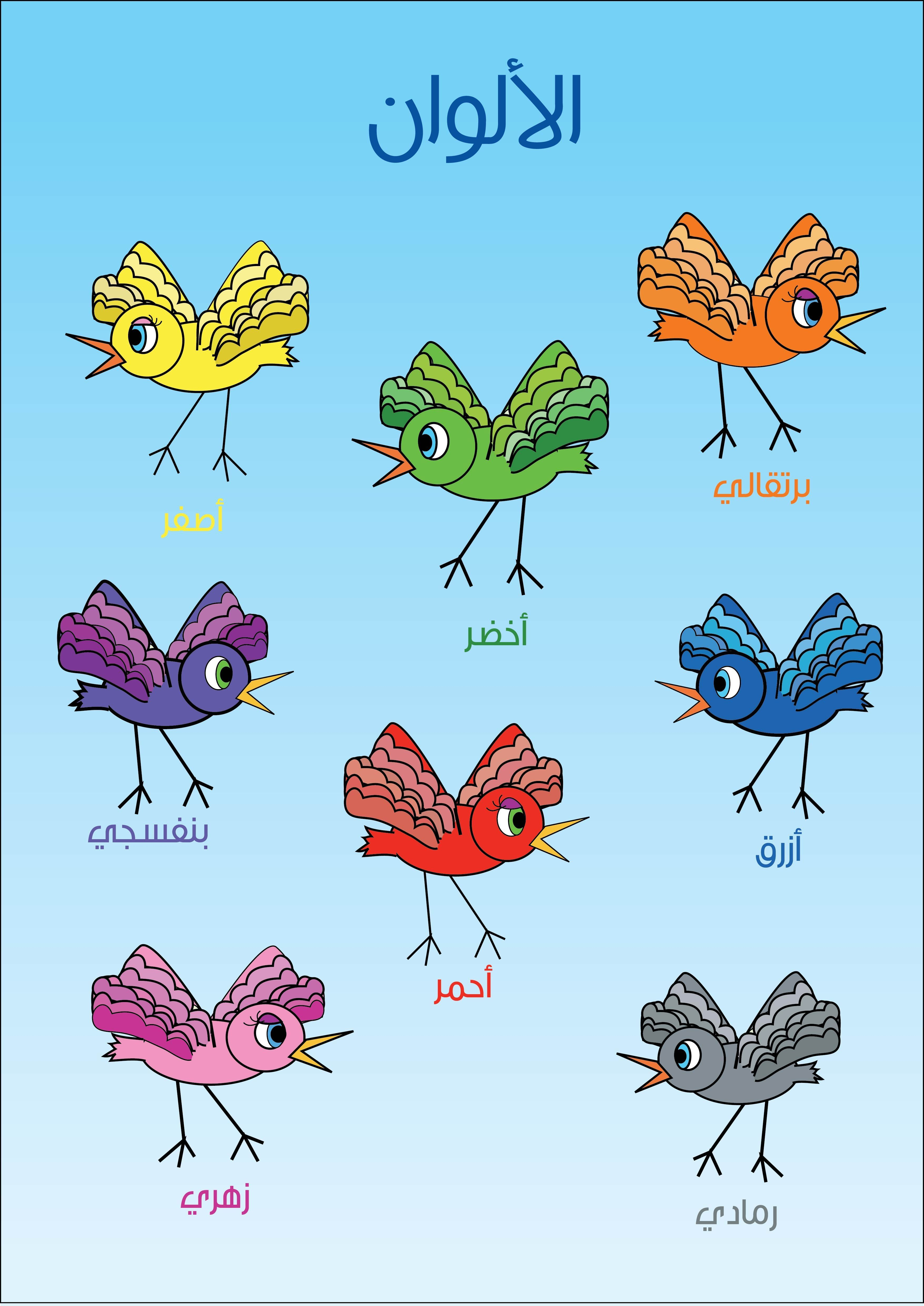 This Is Another Poster I Made Using Birds About Colors In Arabic For Kids Renkler Egitim Cocuk