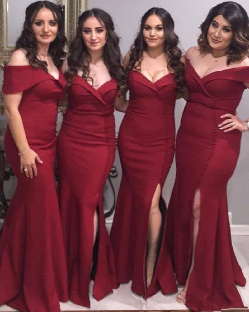 d8d812c6fa Wine Red Long Slit Fitted Bridesmaid Gown Wedding Party Dresses ...