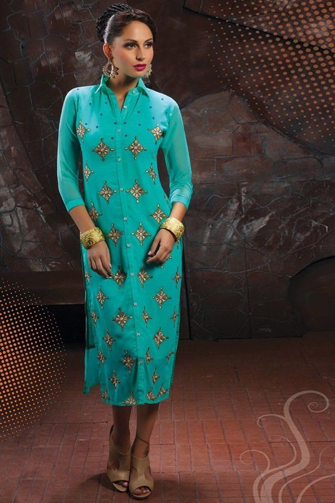5eaf5ccdba1 Get a trend setter look on you next weekend party or function by cladding into  this marvelous turquoise color party wear designer kurti.