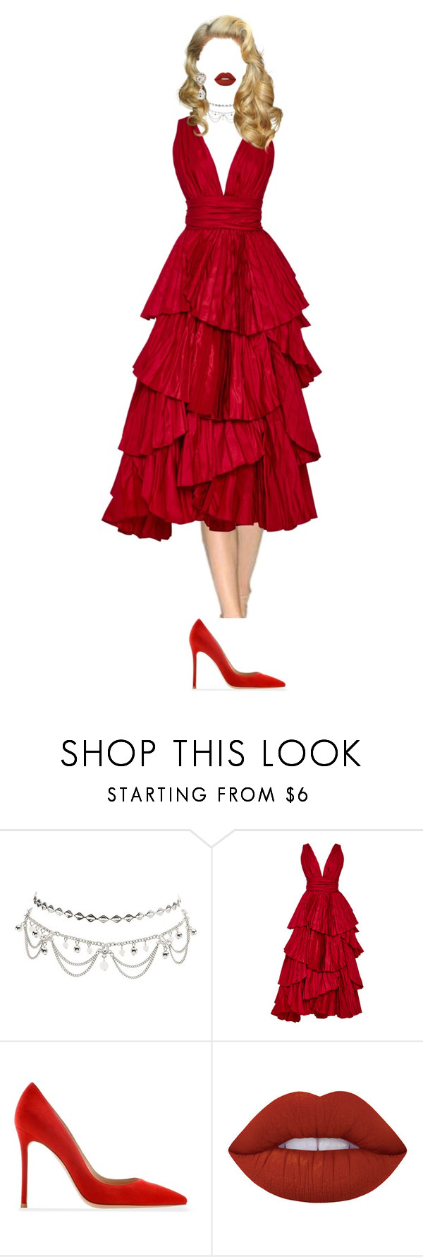 """- Lin Ai"" by xxeucliffexx ❤ liked on Polyvore featuring Charlotte Russe, Oscar de la Renta, Gianvito Rossi, Lime Crime, Dolce&Gabbana and AI"