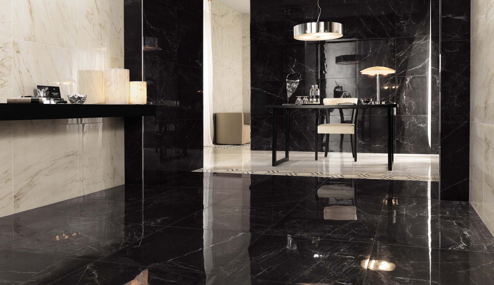 noir saint laurent black marble effect tiles available in different sizes matt and polished for a stunning marble look environment