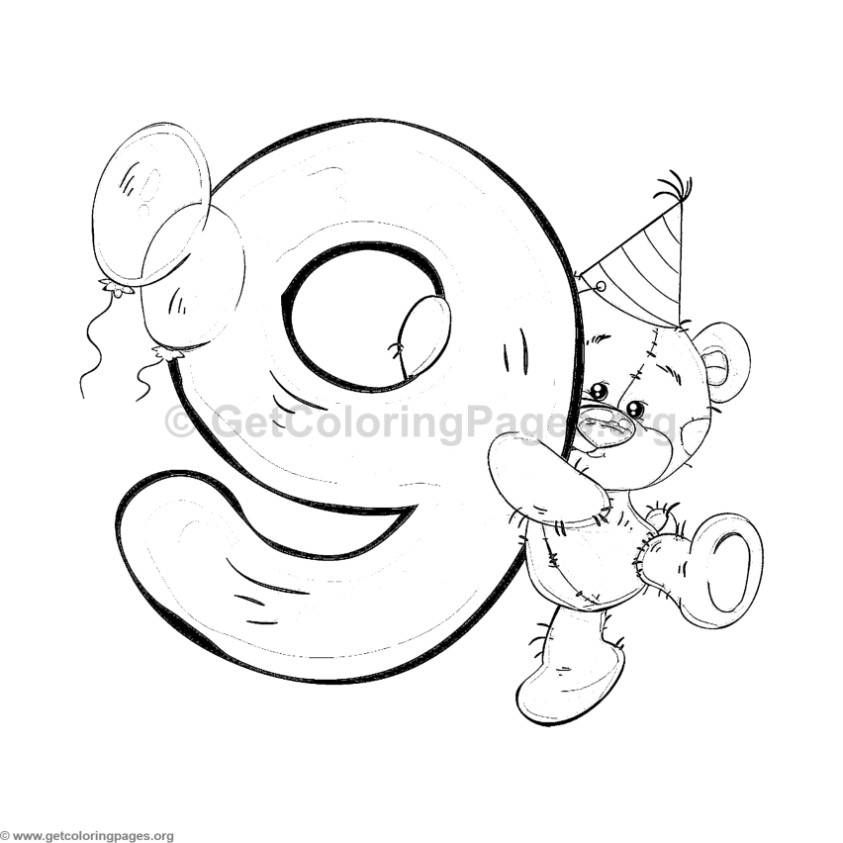 Teddy Bear Number Nine Coloring Pages Coloring Pages Coloring Books Coloring Letters