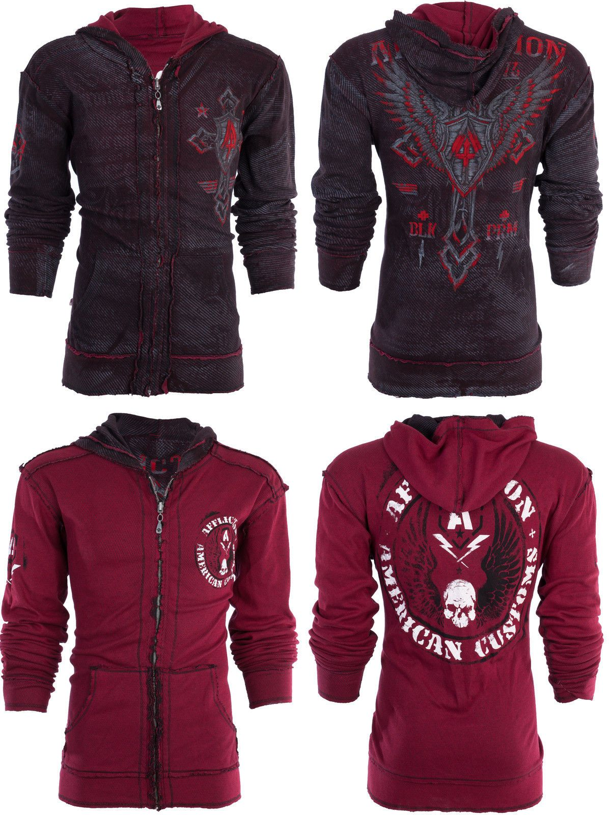 49.99 AFFLICTION Mens Hoodie Sweat Shirt ZIP UP Jacket
