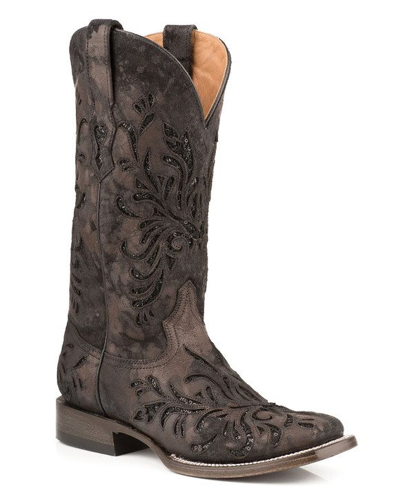 Look at this Stetson Black Metallic Laser-Cut Leather Cowboy Boot - Women  on  zulily today! e8f978566