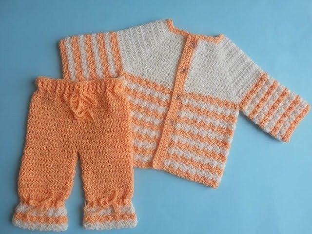 How to Crochet Baby Sweater Jacket with Pants (part 2)