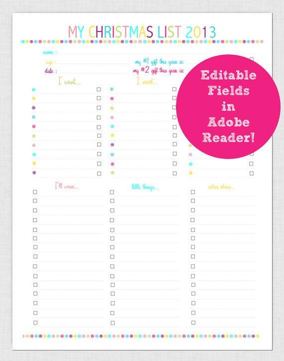 Editable Christmas List Holiday Printable Planner Page Pdf