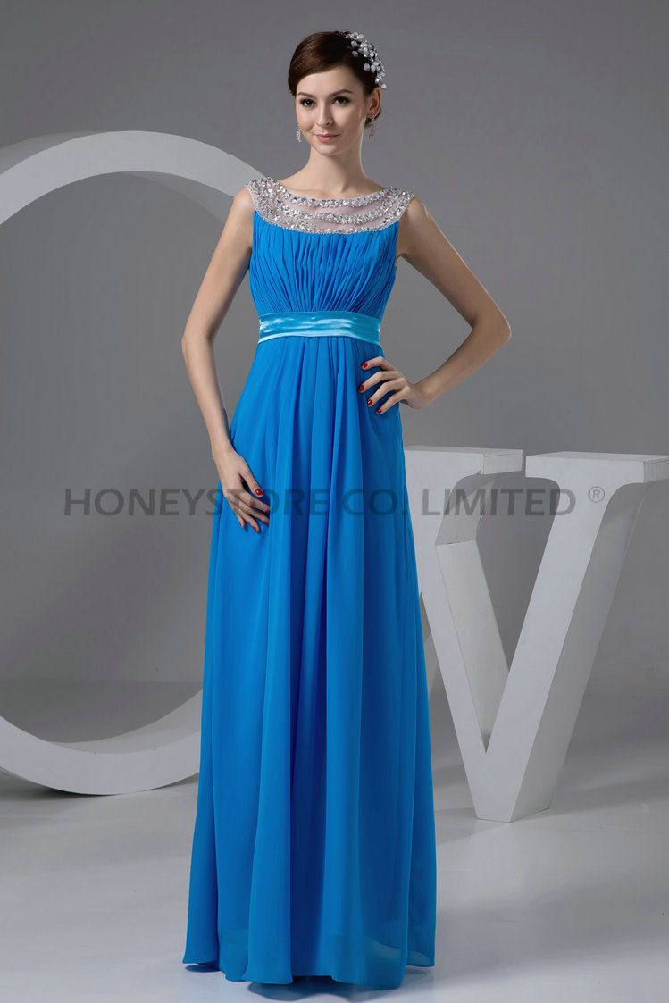 Aliexpress.com : Buy Chiffon Jewel Neckline Beading Blue Evening ...