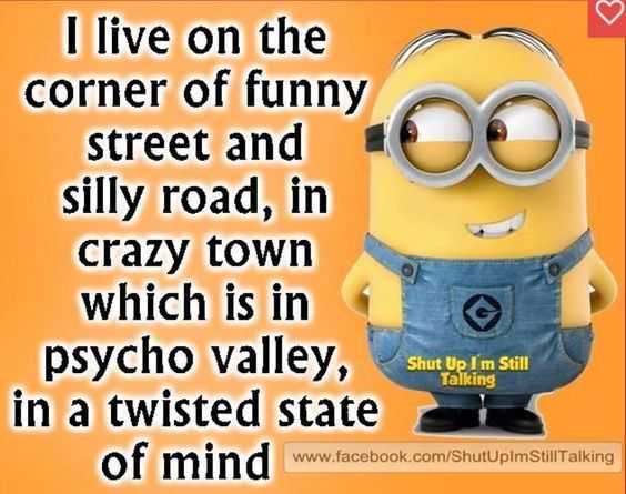 I live on the corner of funny street and silly road, in crazy town which is in psycho valley, in a twisted state of mind