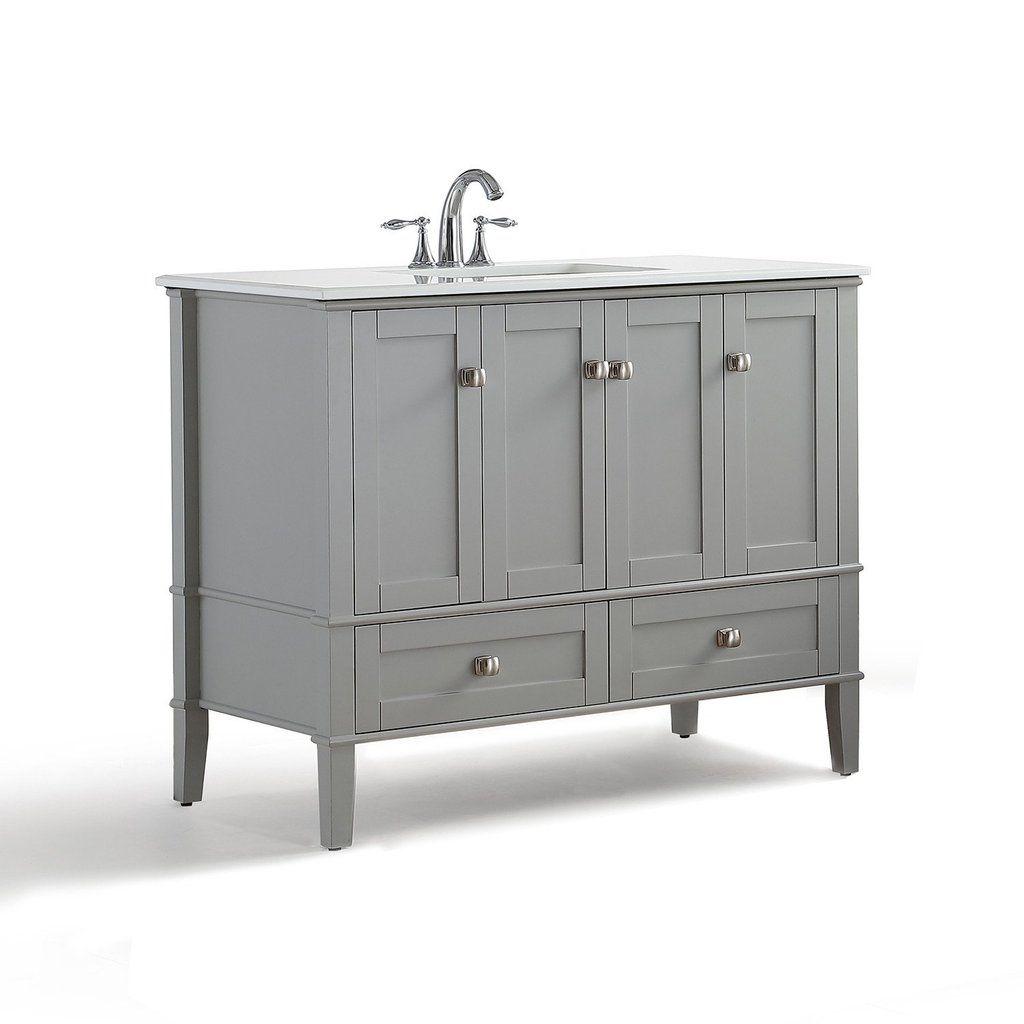 Chelsea 42 inch bath vanity with white quartz marble top