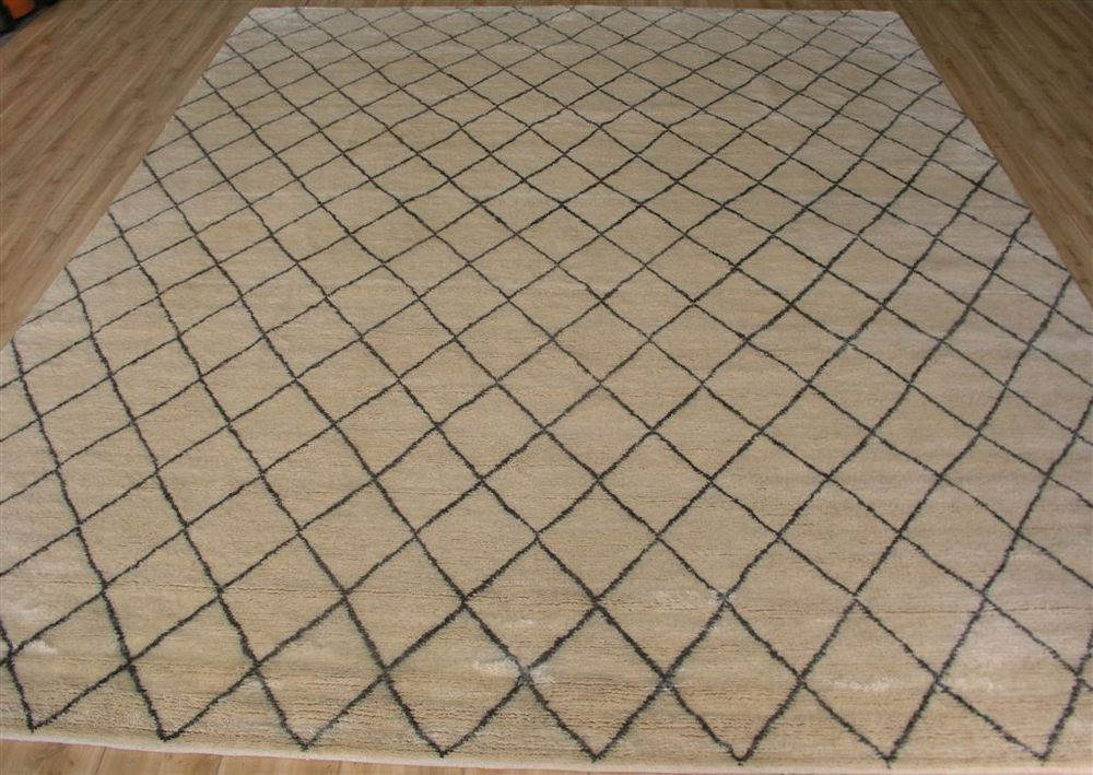 100 Hand Knotted Wool Moroccan Cream Gray Modern Area Rug 9'X12' | eBay wool version.  Double the price.