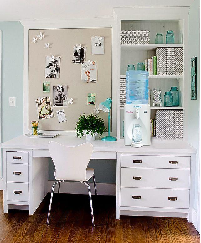 Original home office corner desk with two cabinet credenzas wood top homeofficeideas in pinterest also rh