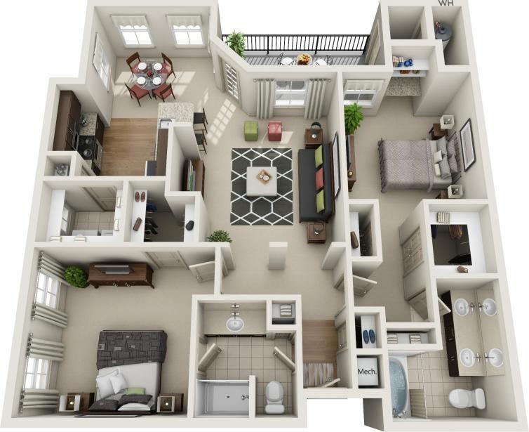Two Bedroom Floorplans Avana Apartments Ana Pinterest - plan maison avec appartement