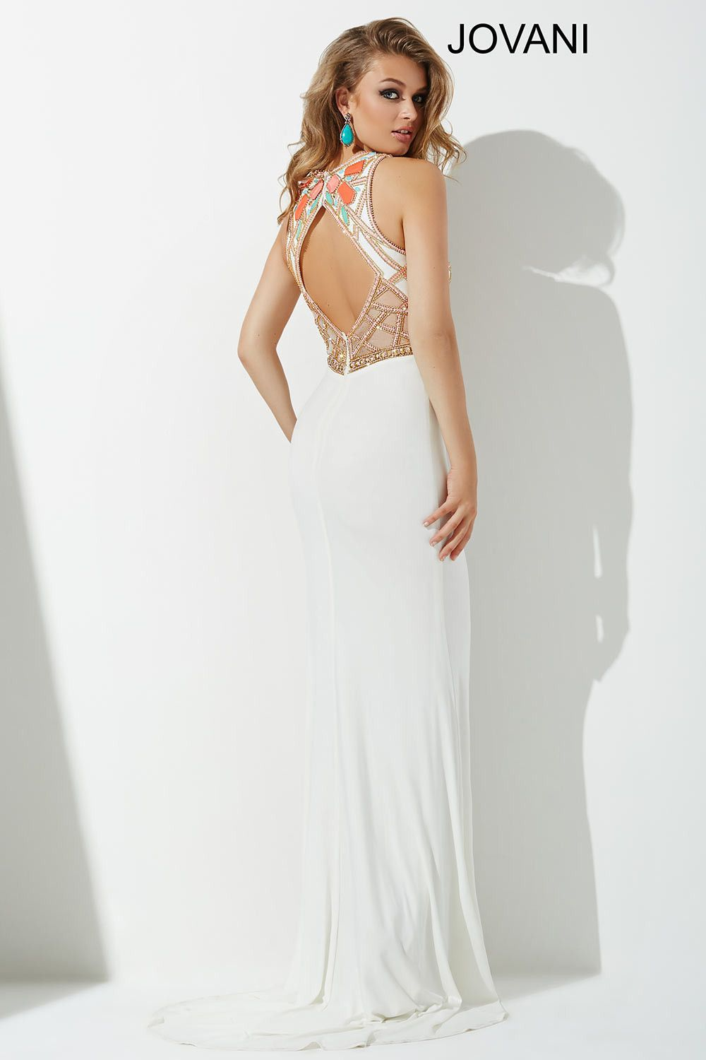 Jovani 33408 In Stock Size 4 White Stone Embellished Prom Dress ...