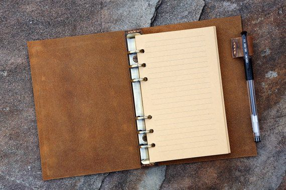 Personalized refillable 6 ring rustic leather A6 journal