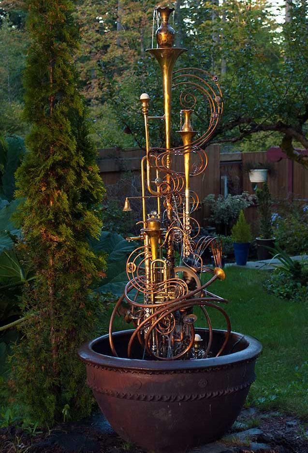 Silver Sax Fountain Douglas Walker Sculpture Fountain Diy Water Feature Small Garden Inspiration