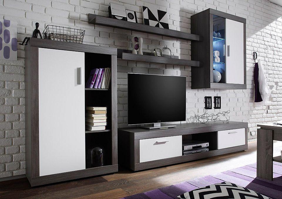 Wohnwand »Ocean« (5-tlg) inkl LED-Beleuchtung Jetzt bestellen - moderner wohnzimmerschrank mit glastüren und led beleuchtung