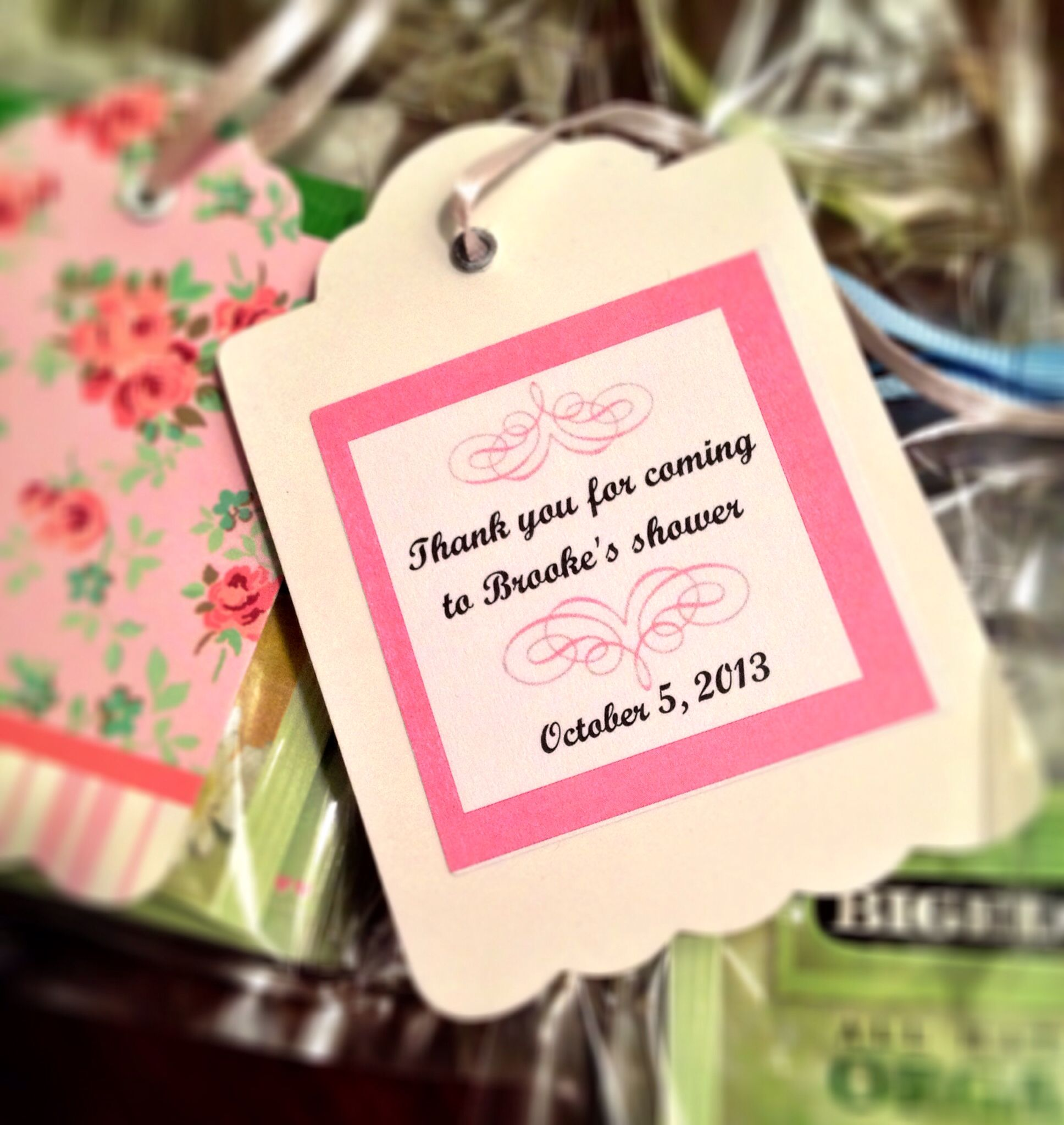 Tag on favor for Brooke\'s tea party bridal shower... Attached to bag ...